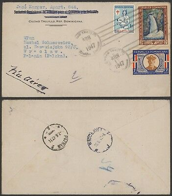 Dominican Republic 1947 - Air mail cover to Poland - Red Cross 24339