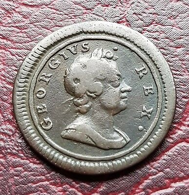 (E45) Uk British 1719 George I One Farthing Coin Large Planchet Good Grade