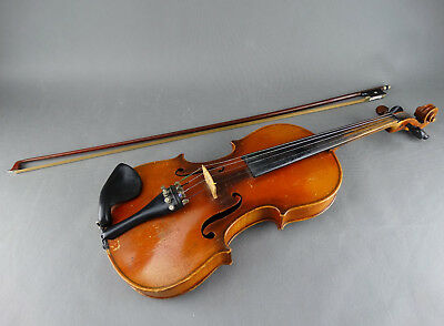 Antique German Violin with Bow & Hard Case Full Size 4/4 c1900 - 1920