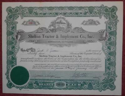 31296 USA 1953 Shelton Tractor & Implement 42 shares certificate