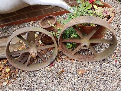 Pair of nice old cast iron chicken shepherds hut wheels