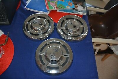 Vintage Lot Of 3 1962? Chevy Corvette Chevrolet Hubcaps 1 Is Near Perfect 1960'S