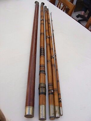 Antique Fishing Rod Pole E L Sowerbutts Shoreditch Whole Cane 4 Sections 14' 4""