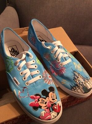 Disney Shoes, Custom Painted, Vans, Womens 10