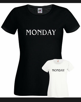 T-SHIRT Sunday Monday Tuesday Wednesday Thursday Friday Saturday donna cotone