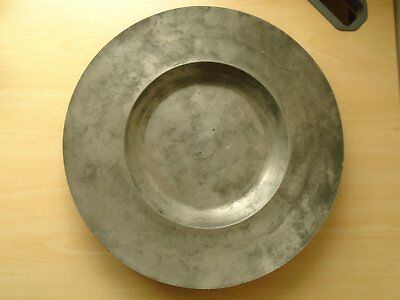 Large French Antique Pewter Plate/Dish with touchmark. Initialed A R