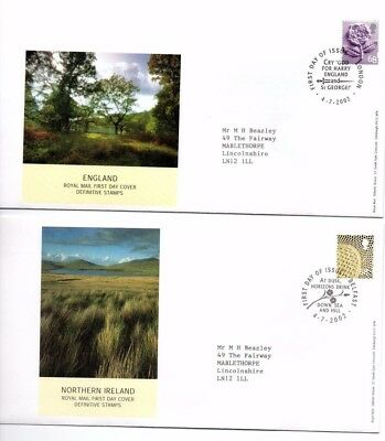 4 Different Royal Mail GB Regional FDCs with 68p stamps - issued 4 July 2002