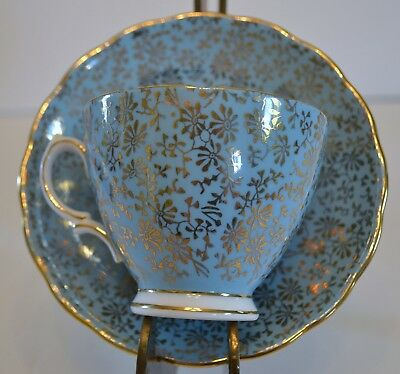 Colclough Bone China Cup And Saucer Blue With Gold/gilt Foral Pattern