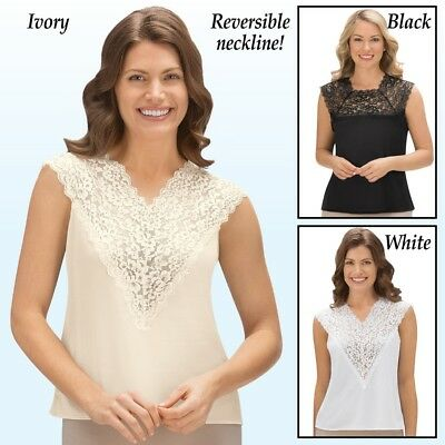 Reversible Silky Camisole with Lace in White