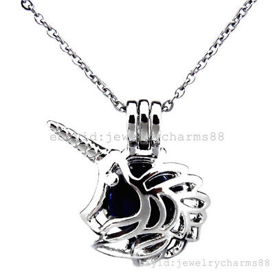 K376 Silver Alloy Pearl Beads Cage Animal Unicorn Horn Stainless Steel Necklace