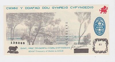 The Welsh Black Sheep Company One Pound Banknote. Conway Castle, 1970. UNC