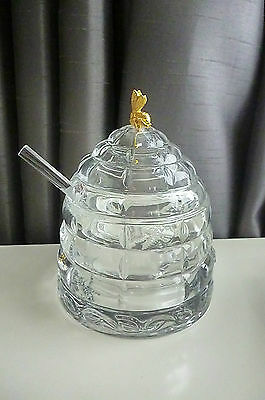 Vintage Crystal Beehive Honey Pot/Jar With 24ct Gold Plated Bumble Bee & Spoon