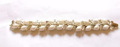 Vintage 1950's Signed Lisner Pearl Panel Clear Crystal Decorative Bracelet