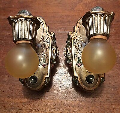 Antique Wall Sconce Fixtures Wired Pair Riddle Co. 2A