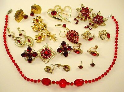Vintage 14 Pc. Red Rhinestone Crystal Mixed Jewelry Lot Earrings Brooch Necklace