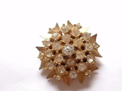Vintage 1940's Coro Style Gold Tone Clear Glass Crystal Brooch / Pendant