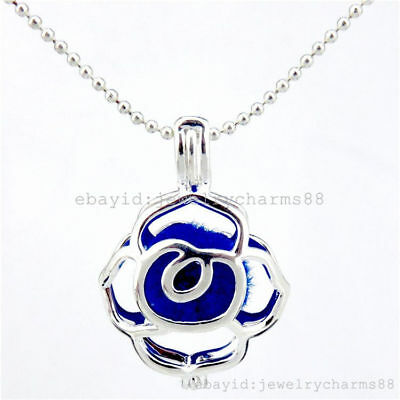 L393 Bright Silver Steel Locket Wedding Necklace Growth Rose Pearl Beads Cage