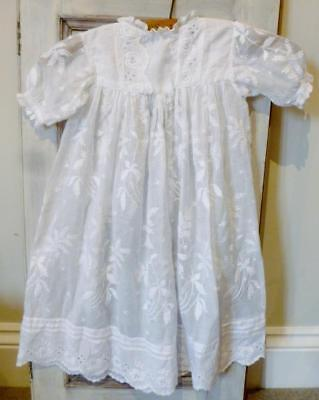 Antique White Cotton Embroidery Anglaise Fern Baby Christening Gown 1930's