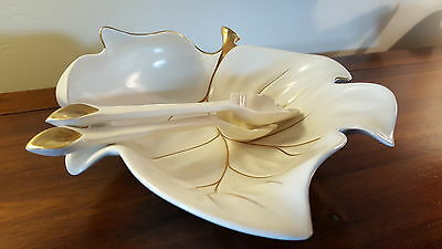 "Vintage Carlton Ware Leaf Salad Bowl With Spoons! Rare ""deep"" Version!"