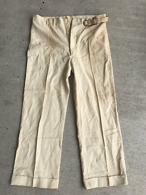 VTG 30s 40s SANFORIZED WORK PANTS DEADSTOCK SZ 42 WORKWEAR WHITE
