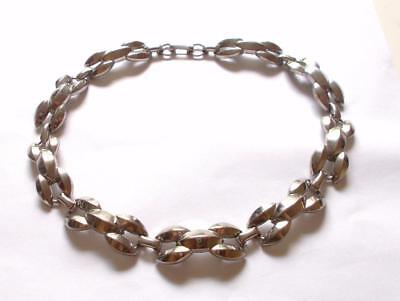 Vintage 1940's Silver Tone Decorative Collar Chunky Panel Chain Necklace /choker