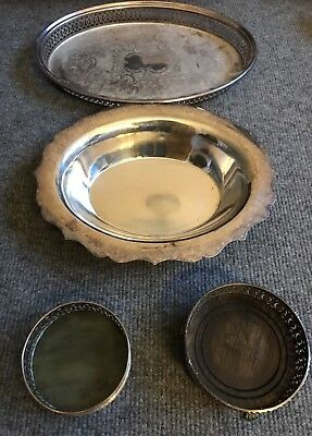 Silver Plated Vintage Trays Serving Dish Wine Holder Job Lot Home Dining