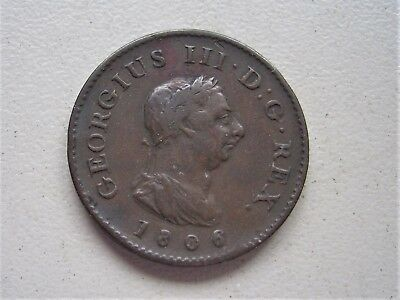 King George 111,  1806  copper  Farthing, Very Fine condition  [86]