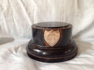 Large Victorian Vintage Wooden Display Trophy Plinth Base Ebonised Silver Shield