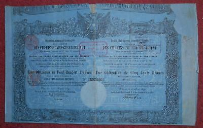 30977 AUSTRIA 1859 State Railways 500 Francs Bond  - no coupons. 75,000 issued