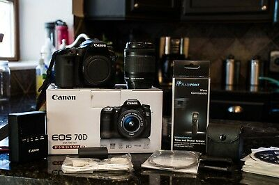 Canon EOS 70D 20.2MP Digital SLR Camera -Kit w/ EF-S IS STM 18-55mm Lens- extras