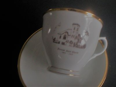 Tea Cup and Saucer stamped Picture Kerwood United Church Ontario Canada1873 1973