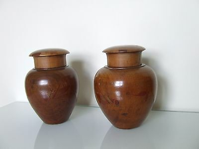 JAPANESE TEA CADDIES c1890 PAIR, SOFTWOOD WITH HAND PAINTED DECORATION