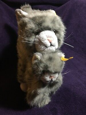 """Steiff Cat & Kitten - """"Mizzy"""" with tags & buttons of authenticity in ears"""