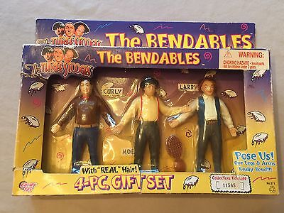 The Three Stooges, The Bendable's 4 Piece Set, Vintage, 1996, NIB