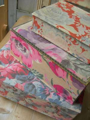 Three antique French fabric covered boudoir boxes 1920s - Art Deco florals