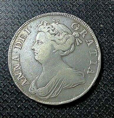 Queen Anne - 1708 Halfcrown - 1/2 Crown - Rare Type Toned - Super Price !!