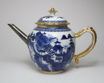 Antique Chinese blue and white porcelain teapot with gilded white metal spout