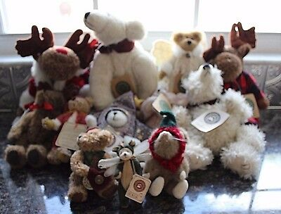 "Lot (12) 1990s Boyds Bears Archive Investment Collection w/ TAGS 5-16"" CHRISTMAS"