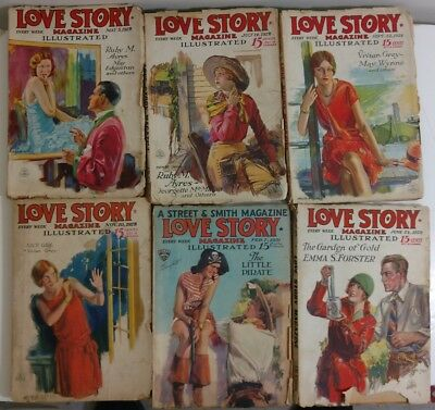 LOVE STORY MAGAZINE Lot of Six 1928-31 Romance Pulps MODEST STEIN covers GGA vv