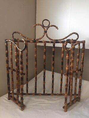 Vintage Bamboo Chinoiserie Fireplace Screen