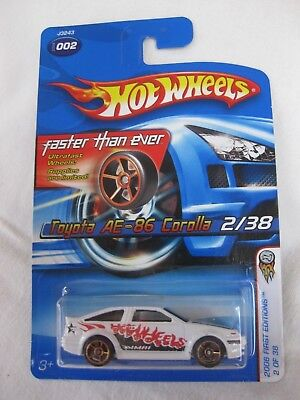 Hotwheels Rare 2006 Gold Faster Than Ever Toyota AE- 86 Corolla Mint In Card