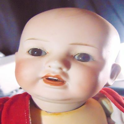 Antique Bisque Doll Open Mouth Teeth Baby Character Vtg Clothes Solid Dome Sleep