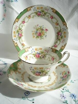 Pretty Shelley Vintage Dubarry Bone China Cabinet Cup Saucer and Plate Trio
