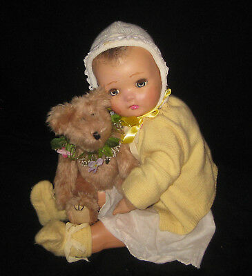 "21"" ANTIQUE/VINTAGE HORSMAN old BABY DOLL - composition/cloth"