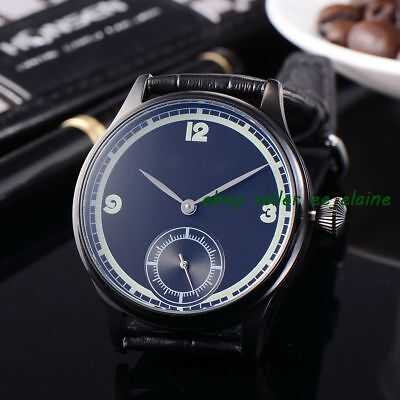 Corgeut 44mm Sterile Dial Black PVD Case Mens Hand Winding Watches WCM2002APG02