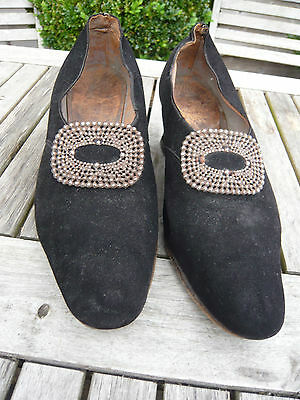 Original 1920's / 30's Shoes Black Suede With Steel Decoration Size 5
