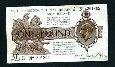 England Treasury (P359) 1 Pound 1922 Fisher aVF