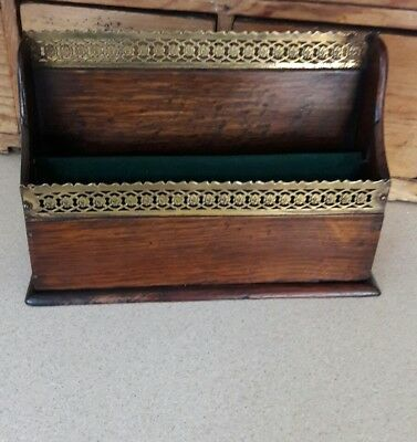 Antique Mahogany Letter Rack With Brass Galleries.