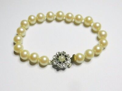 Vintage 1950s Individually Knotted Faux Pearl Bracelet With Rhinestone Clasp