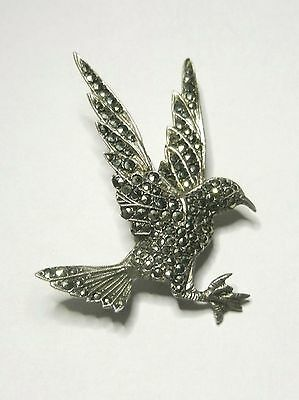 Vintage 1940s - 1950s  Sterling Silver and Marcasite Bird Brooch